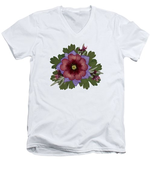 Red Open Faced Potentilla Pressed Flower Arrangement Men's V-Neck T-Shirt