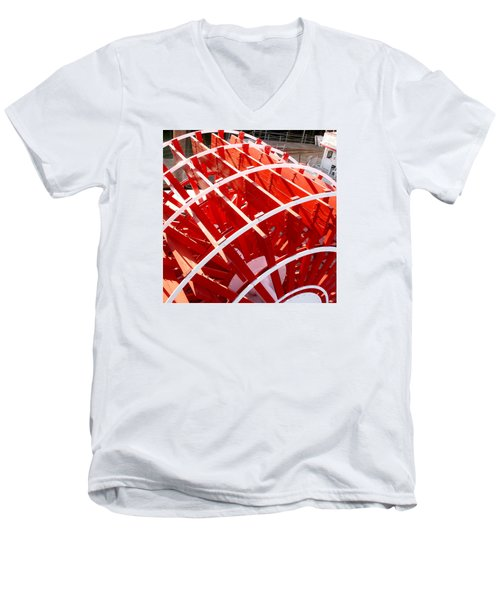 Red Paddle Wheel Men's V-Neck T-Shirt