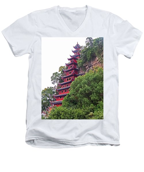 Red Pagoda Men's V-Neck T-Shirt
