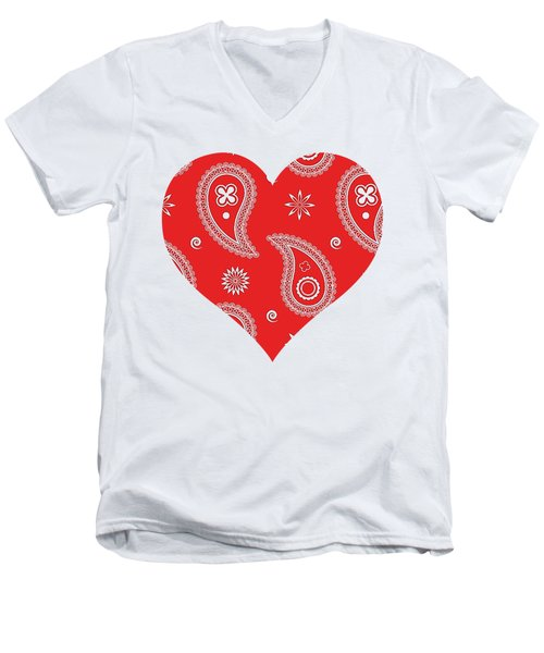 Red Paisley Men's V-Neck T-Shirt
