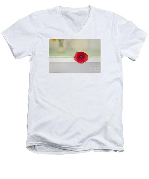 Red Poppy On Windowsill Men's V-Neck T-Shirt