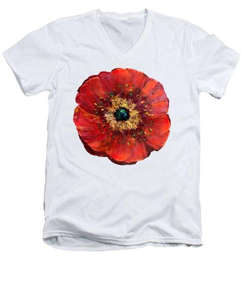 Red Poppy Transparent  Men's V-Neck T-Shirt