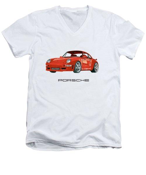 Red Porsche 993 1997 Twin Turbo R Men's V-Neck T-Shirt