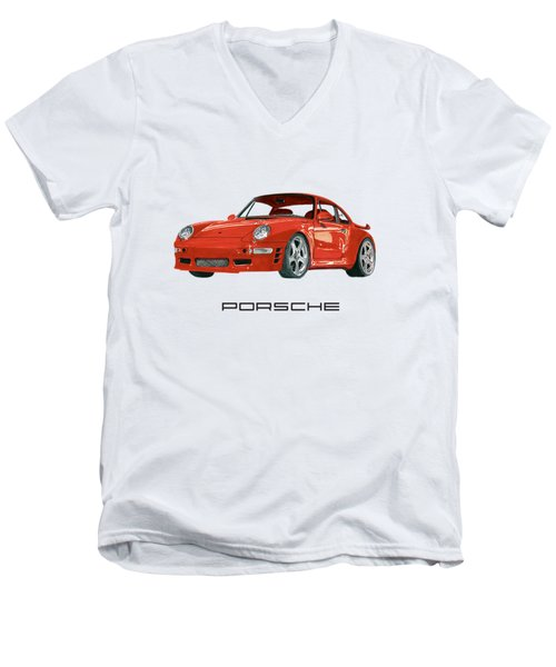 Red Porsche 993 1997 Twin Turbo R Men's V-Neck T-Shirt