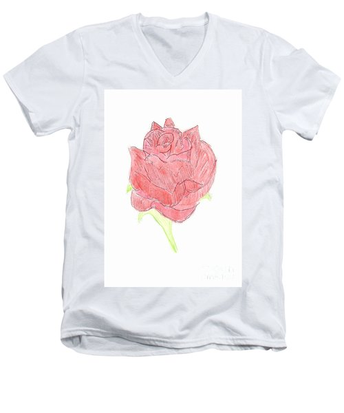 Red Rose Men's V-Neck T-Shirt