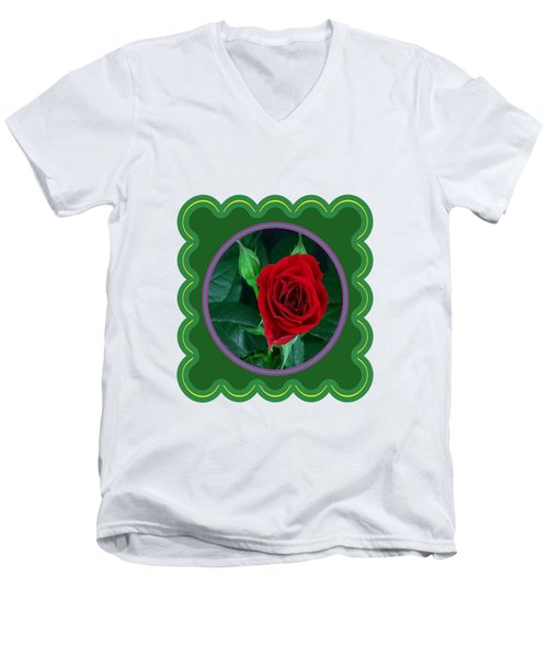 Red Rose Flower Floral Posters Photography And Graphic Fusion Art Navinjoshi Fineartamerica Pixels Men's V-Neck T-Shirt