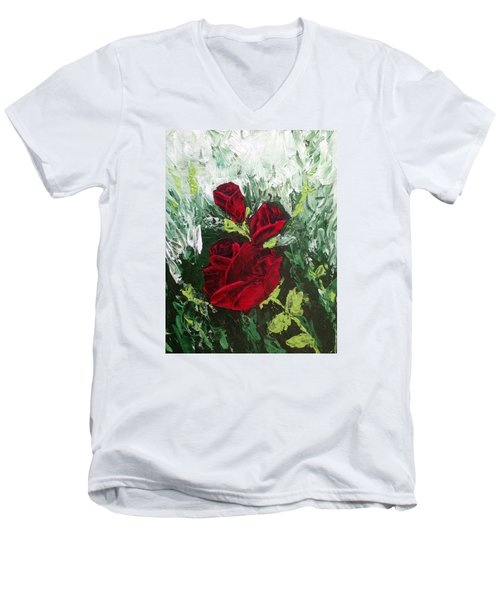 Red Roses In Bloom Men's V-Neck T-Shirt by Roxy Rich