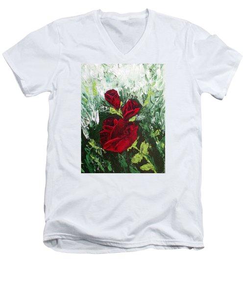 Red Roses In Bloom Men's V-Neck T-Shirt