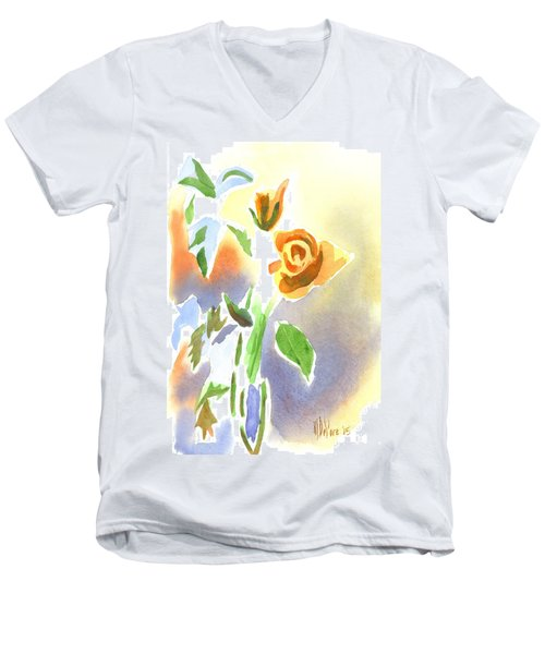 Men's V-Neck T-Shirt featuring the painting Red Roses With Holly In A Vase by Kip DeVore