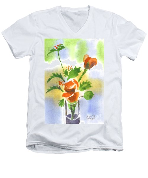 Men's V-Neck T-Shirt featuring the painting Red Roses With Holly by Kip DeVore
