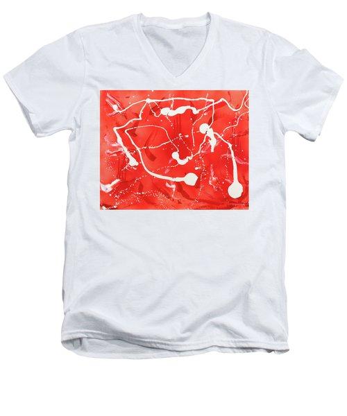 Red Spill Men's V-Neck T-Shirt
