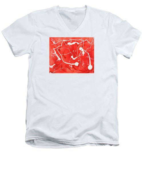 Red Spill Men's V-Neck T-Shirt
