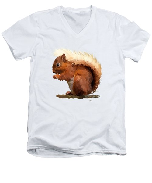 Red Squirrel Men's V-Neck T-Shirt by Bamalam  Photography