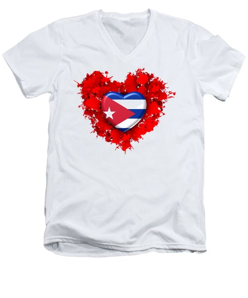 Red Stain Love To Cuba Men's V-Neck T-Shirt