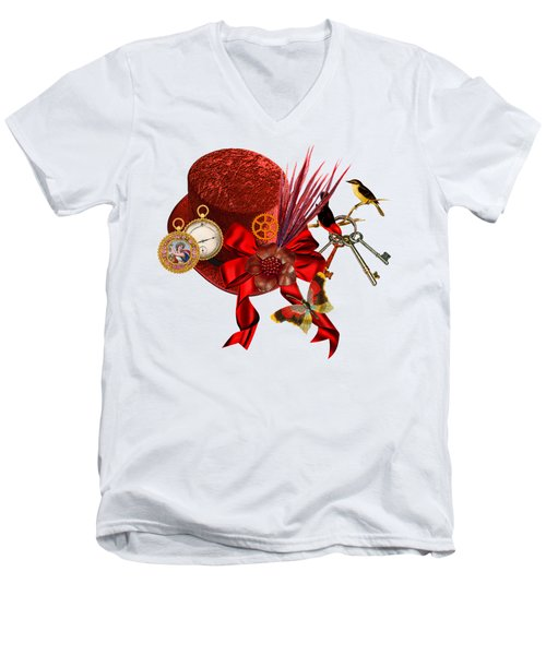 Red Steampunk Top Hat Art Men's V-Neck T-Shirt