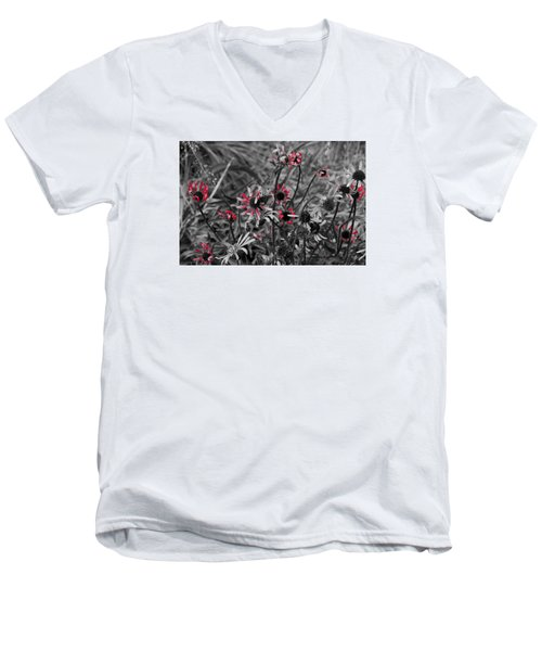 Men's V-Neck T-Shirt featuring the photograph Red Streaks by Deborah  Crew-Johnson