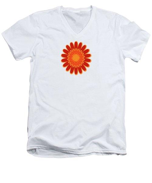 Red Sunflower Pattern Men's V-Neck T-Shirt by Methune Hively