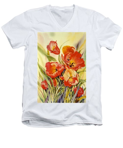Red Tulips In My Garden Men's V-Neck T-Shirt