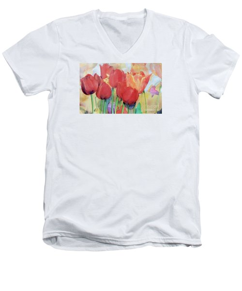 Watercolor Of Blooming Red Tulips In Spring Men's V-Neck T-Shirt