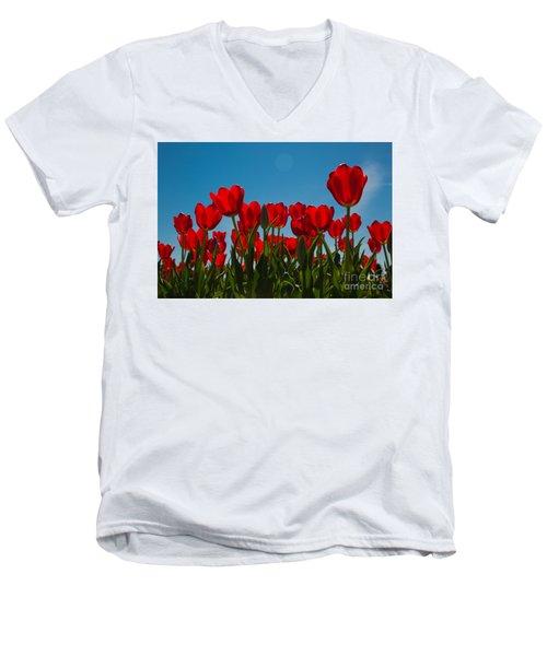 Red Tulips Men's V-Neck T-Shirt by John Roberts