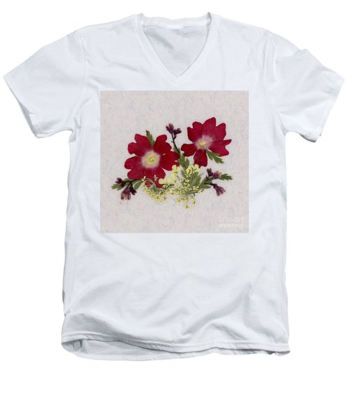 Red Verbena Pressed Flower Arrangement Men's V-Neck T-Shirt