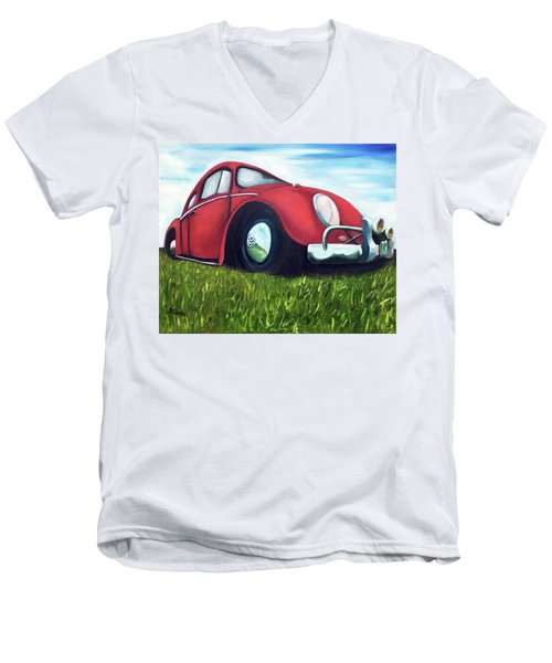 Red Vw Men's V-Neck T-Shirt