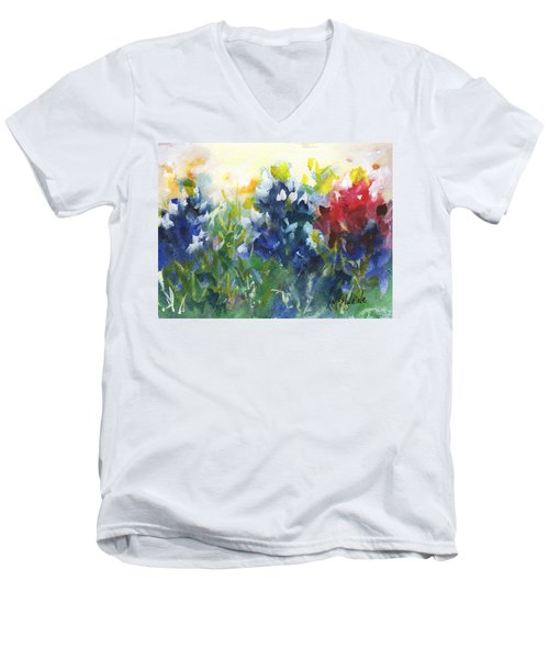 Red White And Bluebonnets Watercolor Painting By Kmcelwaine Men's V-Neck T-Shirt by Kathleen McElwaine
