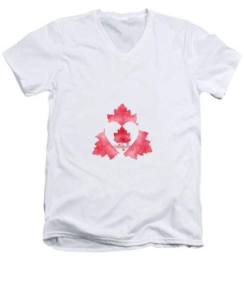 Red White And Canadian Men's V-Neck T-Shirt by Kathleen Sartoris