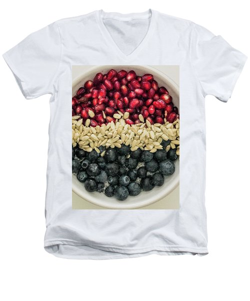 Red White Blue Power Breakfast Men's V-Neck T-Shirt