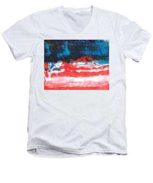 Red White Blue Scene Men's V-Neck T-Shirt