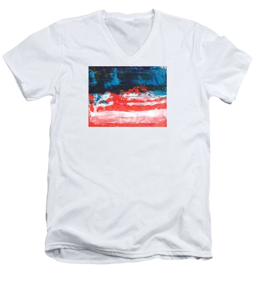 Red White Blue Scene Men's V-Neck T-Shirt