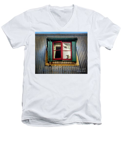 Men's V-Neck T-Shirt featuring the photograph Red Windows by Perry Webster