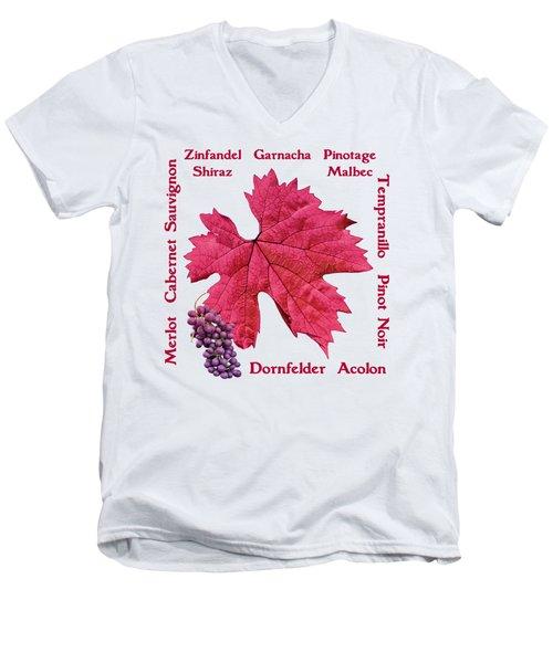 Red Wines Lettering Men's V-Neck T-Shirt