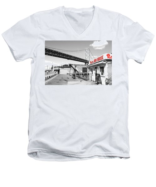 Reds Java House And The Bay Bridge In San Francisco Embarcadero . Black And White And Red Men's V-Neck T-Shirt