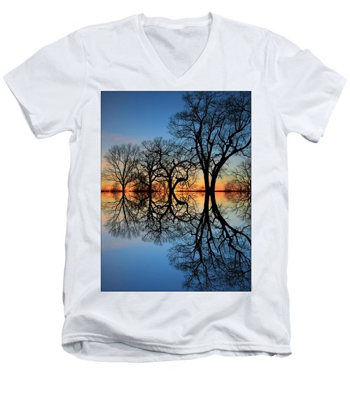Men's V-Neck T-Shirt featuring the photograph Reflecting On Tonight by Chris Berry