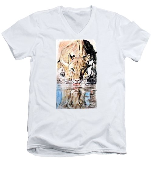 Reflection Of A Lioness Drinking From A Watering Hole Men's V-Neck T-Shirt by Jim Fitzpatrick
