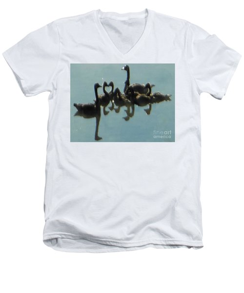 Men's V-Neck T-Shirt featuring the photograph Reflection Of Geese by Rockin Docks Deluxephotos