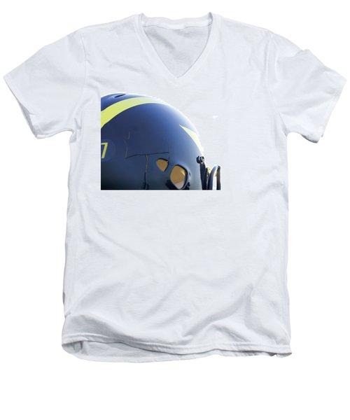 Reflection Of Goal Post In Wolverine Helmet Men's V-Neck T-Shirt