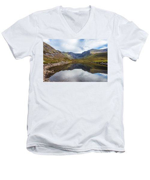 Men's V-Neck T-Shirt featuring the photograph Reflection Of Macgillycuddy's Reeks And Carrauntoohil In Lough E by Semmick Photo