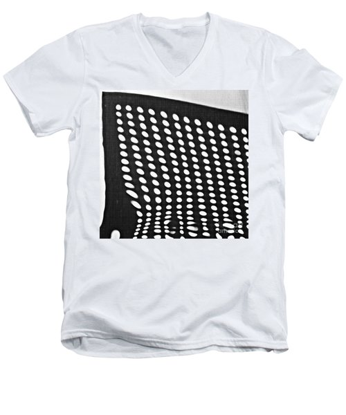 Men's V-Neck T-Shirt featuring the photograph Reflection On 42nd Street 3 Grayscale by Sarah Loft