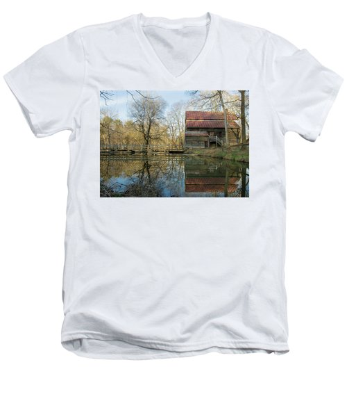 Men's V-Neck T-Shirt featuring the photograph Reflection On A Grist Mill by George Randy Bass