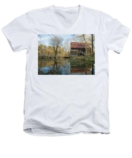 Reflection On A Grist Mill Men's V-Neck T-Shirt