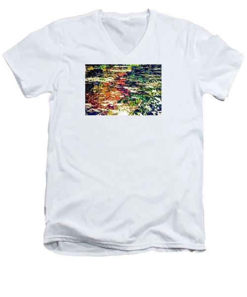 Reflection On Oscar - Claude Monet's  Garden Pond  Men's V-Neck T-Shirt