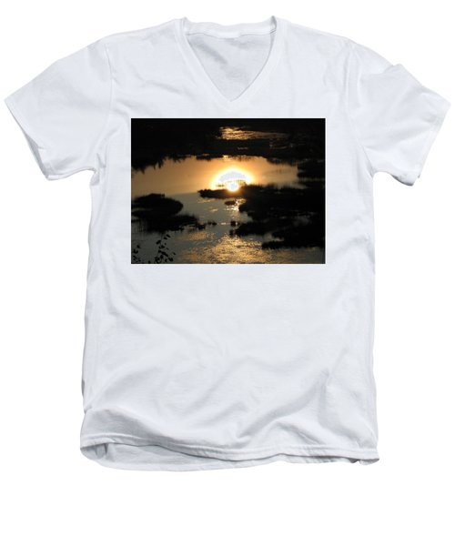 Reflections At Sunset Men's V-Neck T-Shirt by Barbara Yearty