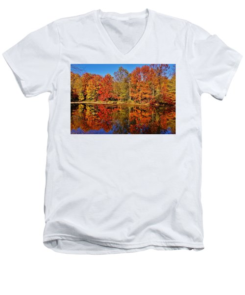 Reflections In Autumn Men's V-Neck T-Shirt by Ed Sweeney