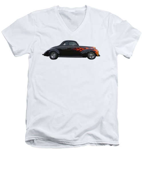Men's V-Neck T-Shirt featuring the photograph Reflections Of A 1940 Ford Deluxe Hot Rod With Flames by Gill Billington