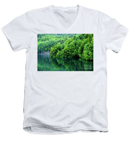 Reflections Of Plitvice, Plitvice Lakes National Park, Croatia Men's V-Neck T-Shirt