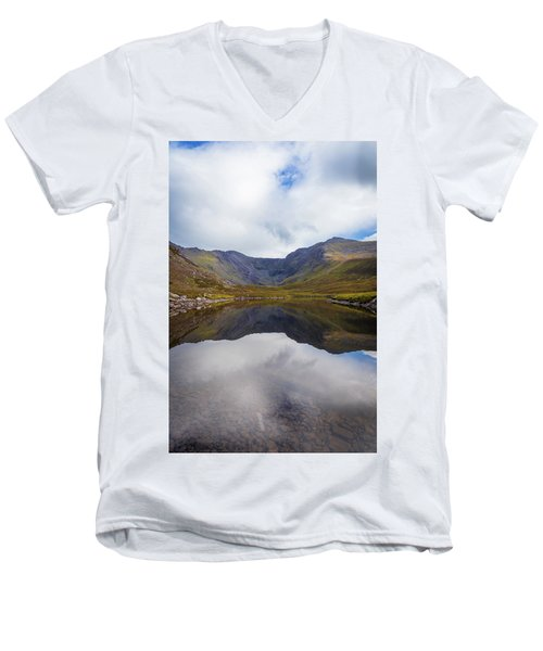 Men's V-Neck T-Shirt featuring the photograph Reflections Of The Macgillycuddy's Reeks In Lough Eagher by Semmick Photo