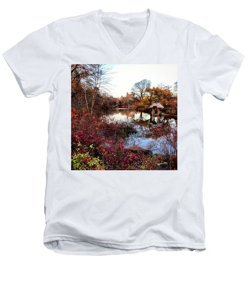 Men's V-Neck T-Shirt featuring the photograph Reflections On A Winter Day - Central Park by Madeline Ellis