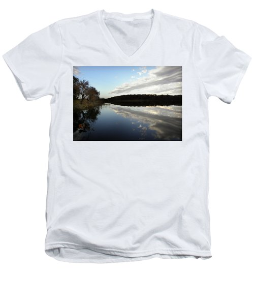 Men's V-Neck T-Shirt featuring the photograph Reflections On The Lake by Chris Berry